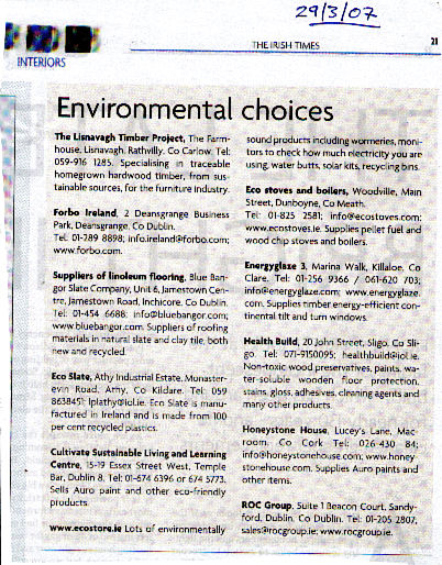 070329 - Irish Times - Interiors supplement